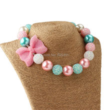 1Pc New Arrival Bow Jewelry Chunky Beads Necklace Little Girl Princess Bubblegum Necklace for Party Dress