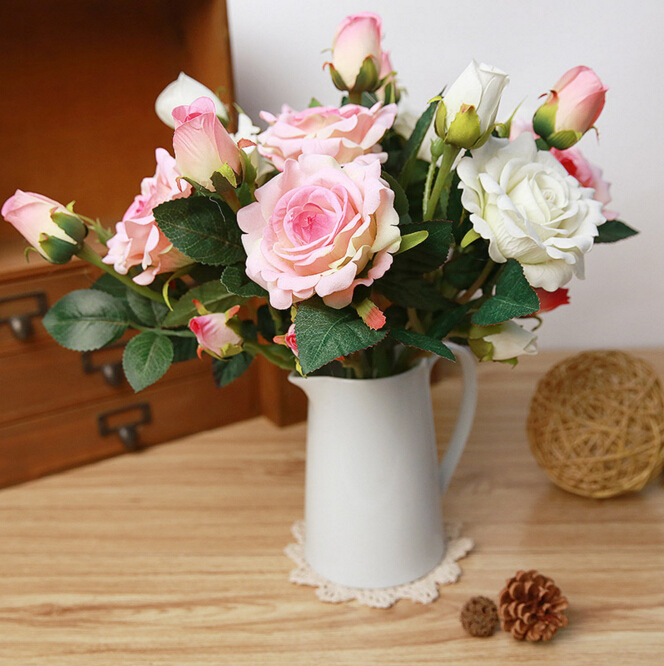3 heads Beautiful Charming Delightful Palace Earl Rose Penoy China Artificial Flowers Hotel Wedding Home Decorative Colorful(China (Mainland))