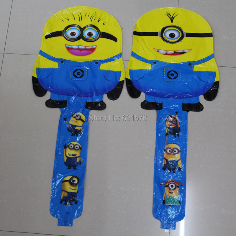 NEW 60pcs/lot despicable me Minions balloons for birthday party decoration cheer stick Clapper Stick Balloon Inflatable toys(China (Mainland))