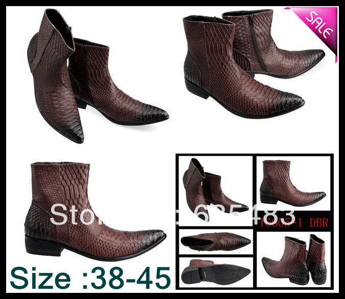 British Style New 2014 Brand Brown Western Ankle Boot Quality Waterproof Crocodile Pattern Genuine Leather Boot Men Best Price(China (Mainland))