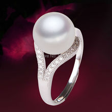 Wholesale 100% Natural Pearl Ring For Women  925 Sterling Silver Freshwater Pearl Jewelry(China (Mainland))