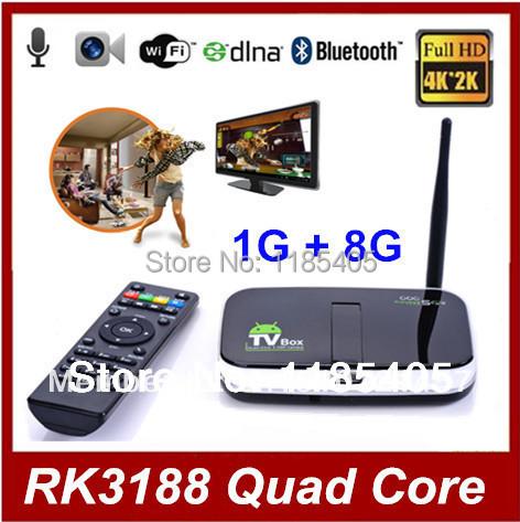[Built-in Camera tv Smart Microphone] CS918S Quad Core Mini PC Android TV Box 4.4 1G / 8G RK3188 Bluetooth HDMI WiFi XBMC RJ45(China (Mainland))
