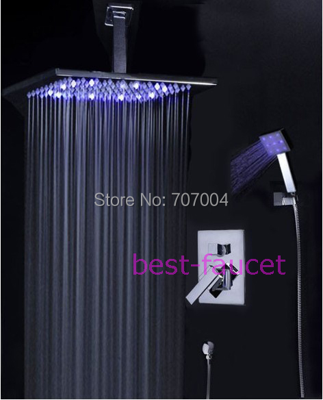 "Luxury LED Color Changing Temperature Control Ceiling Mounted LED Shower Faucet Set W/ 8"" shower head +hand shower(China (Mainland))"