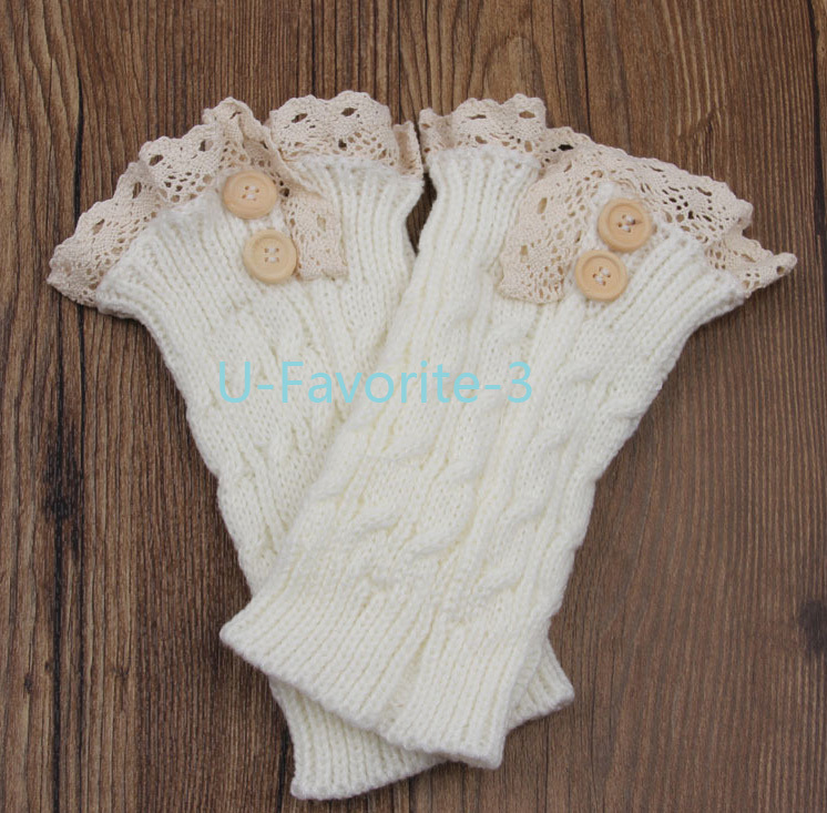 Boot Socks Knitting Pattern : 2014 Women Fashion knit boot cuffs acrylic cable pattern lace boot socks butt...
