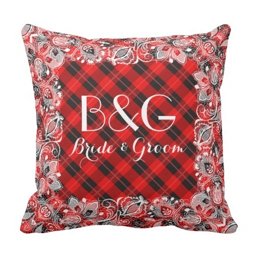Fashion Cushions Red Black font b Tartan b font With White Lace Frame Throw Pillow Case
