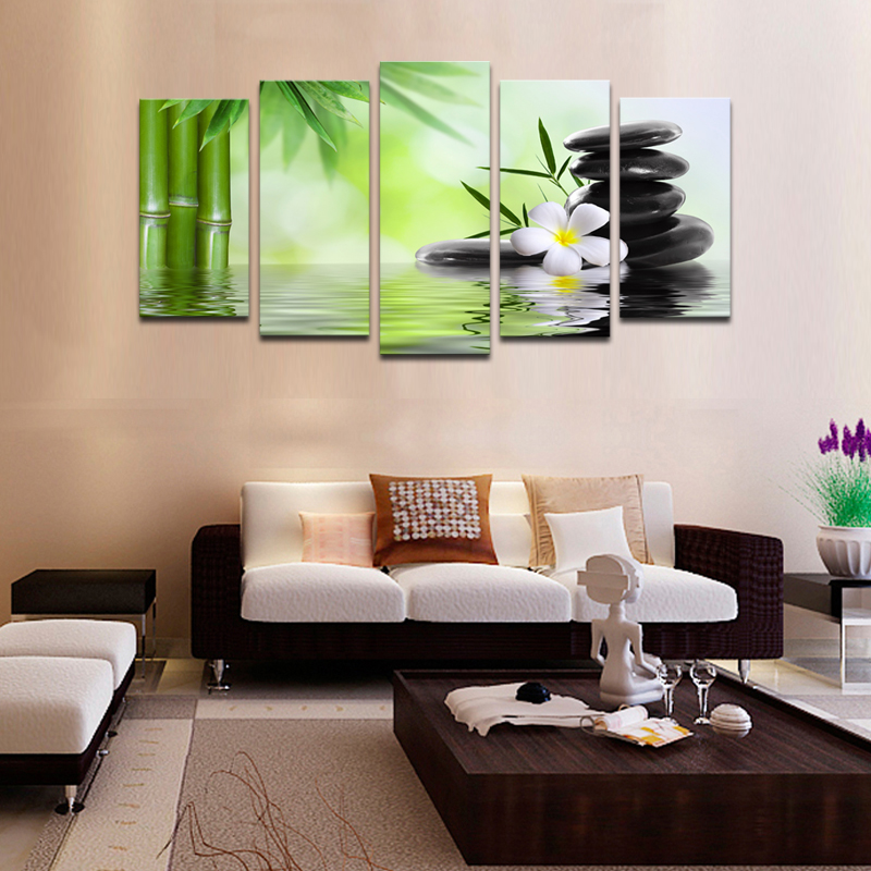 Cheap Wall Frames 5 Piece Bamboo Stone Scenery Modern Home Wall Decor Canvas Picture Art Hd