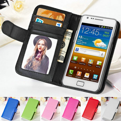 New Fashion Wallet Stand PU Leather Case For Samsung Galaxy S2 SII i9100 Soft CellPhone Bag Cover With Card Holder + Photo Frame(China (Mainland))