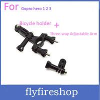 Handlebar Seatpost Mount Bicycle Holder Bracket Three-way Adjustable Pivot Arm For Gopro hero 1 2 3 + Freeship