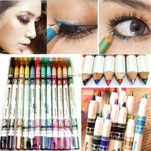 12 Colors Glitter Eyeliner Pencil Lip liner Eye Shadow Pencil Pen Cosmetic Makeup Set Mix colors Beauty Tools High Quality(China (Mainland))