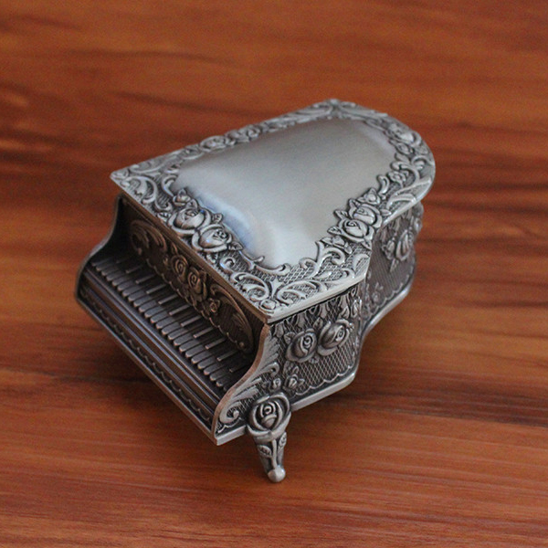 New Fashion Jewelry Box Size S Zinc-alloy Metal trinket box Vintage Piano Shaped Romantic Gifts Jewelry Storage Box(China (Mainland))