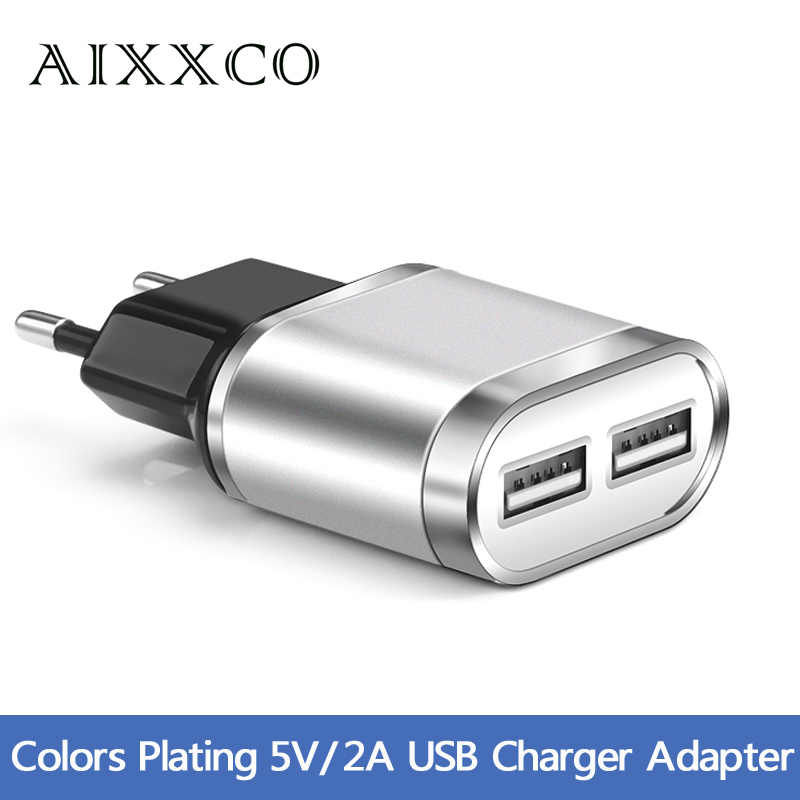 USB Charger For iPhone iPad Samsung 2 Ports Plating Wall Adapter 5V 2A EU Plug Universal Mobile Phone Charging Device(China (Mainland))