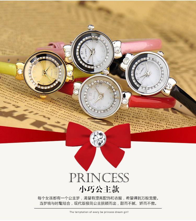 ASNNS подлинная компактное зеркало моды бриллиантовое кольцо пояса часы леди натуральная кожа наручные часы