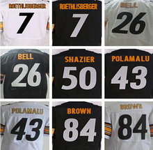 Best quatily jersey,Men's 7 Ben Roethlisberger 26 Le'Veon Bell 43 Troy Polamalu 50 Ryan Shazier 84 Antonio Brown elite jersey(China (Mainland))