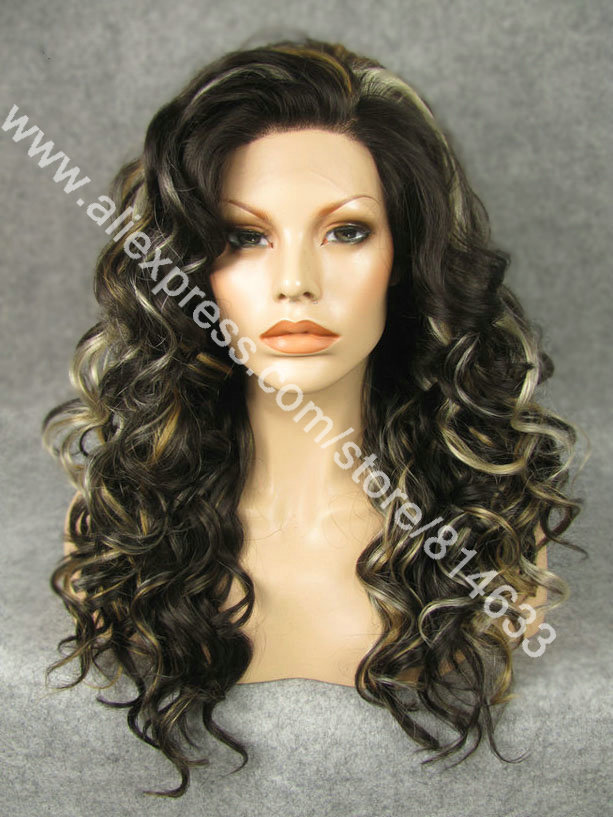 Free Shipping 20 Long Special Highlighted Brown Lace Front Costume Wig High Quality Fashion Ladies Costume Wig Party Wig S04<br><br>Aliexpress