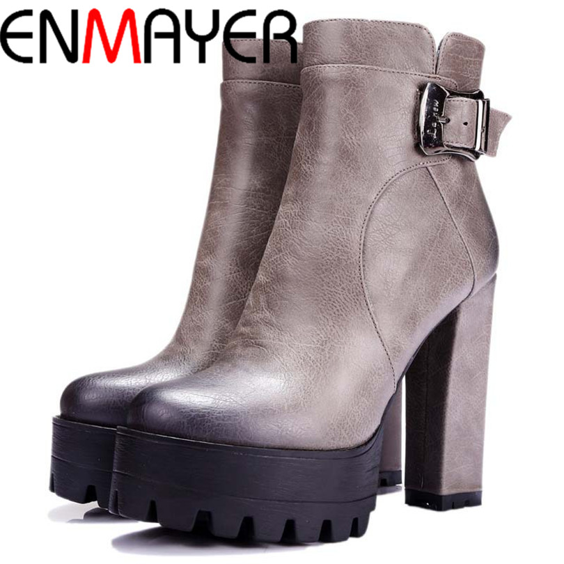 ENMAYER women boots punk Buckle Round Toe High boots Square heel Ankle boots for women  platform Martin boots BIG SIZE 34-42
