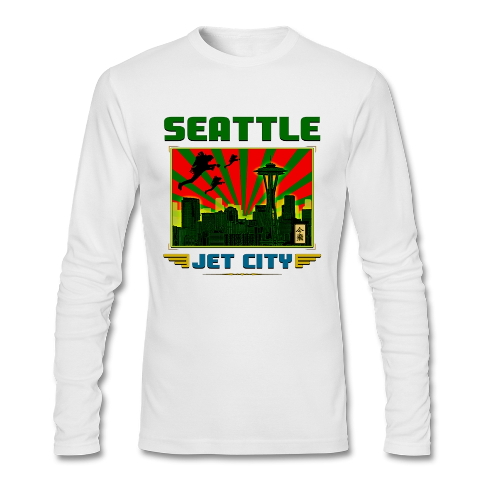 2017 Fashion T-Shirts Free Shipping Men SEATTLE - JET CITY Long Sleeve T Shirts Male Round Neck T Shirts For Teen Girls(China (Mainland))