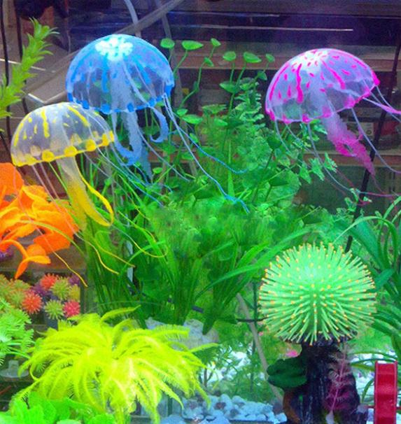 Artificial Glowing Jellyfish For Aquarium Fish Jar Box Ornament Swim Decoration Free Shipping(China (Mainland))