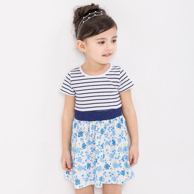 Branded font b Girl b font dress kids Striped tops 2016 baby font b clothing b