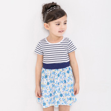 Branded Girl dress kids Striped tops 2016 baby clothing girl dress 100% cotton short sleeve Summer dress for baby girls