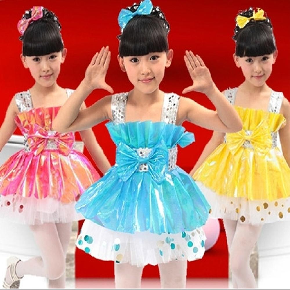 2016 girls modern dance costumes oblique shoulder performances tutu suits veil Students Children dancing clothes - Performance Clothing store