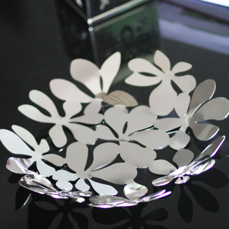 Free shipping Brief leaves cutout compotier dining table coffee table lmdec modern high quality stainless steel fruit plate(China (Mainland))