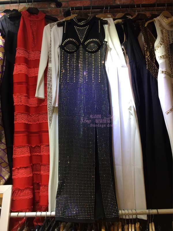 2016 New Top Quality Dubai Elegant Maxi Front high slit Black diamond Fashion luxury Leisure woman  Bandage long dress B-267