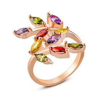 New Arrival 18K Rose Gold Plated Fashion Multicolor Zircon Leaf Ring With Stone Engagement Rings For Women