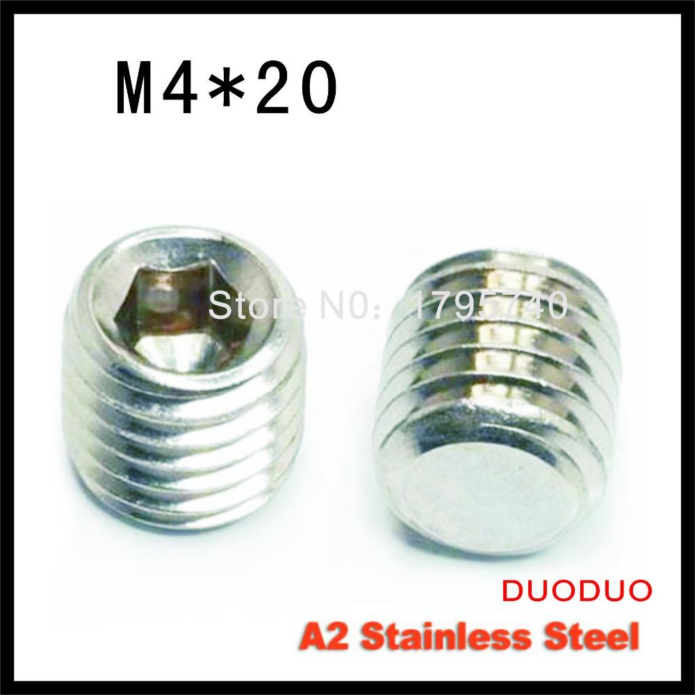 200pcs DIN913 M4 x 20 A2 Stainless Steel Screw Flat Point Hexagon Hex Socket Set Screws<br><br>Aliexpress