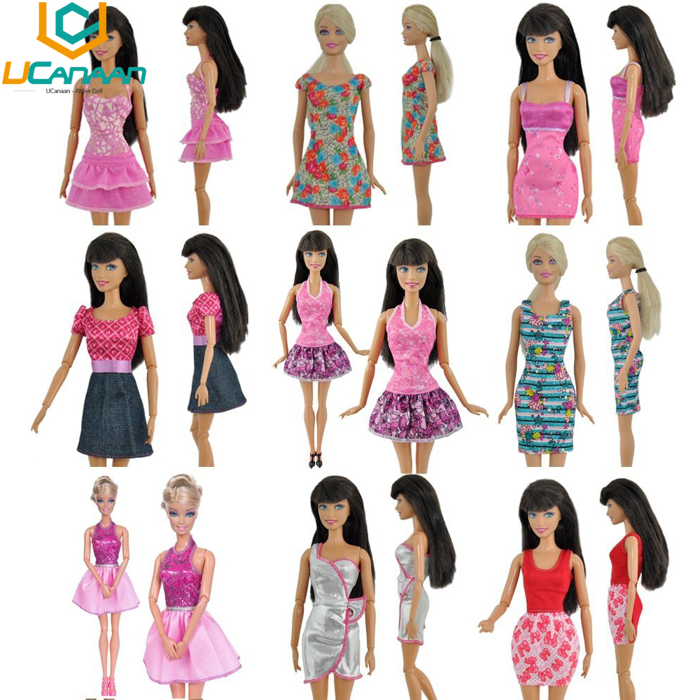 UCanaan Randomly Pick 10 pcs/lot Doll Clothing Sets Fashionable Clothes Casual Dress Suits For Barbie Doll Best Gift Baby Toy(China (Mainland))