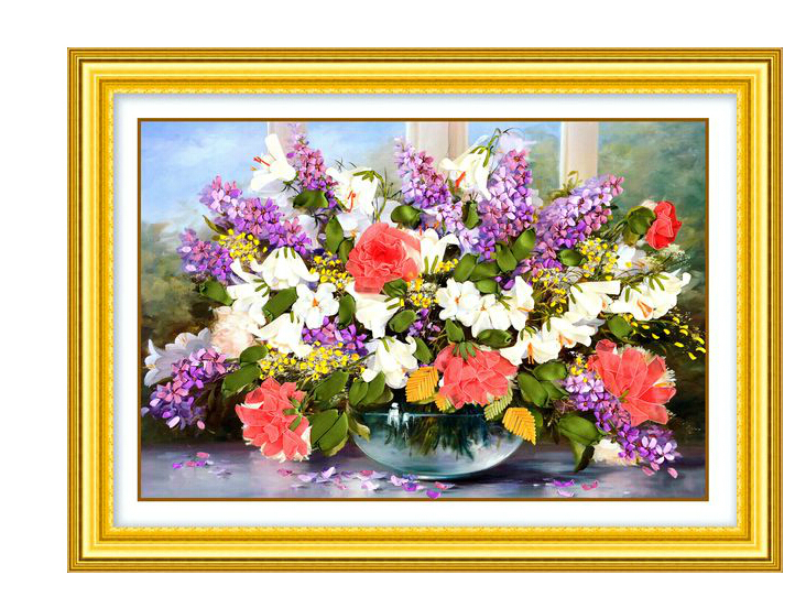 Гаджет  Diy Ribbon embroidery painting handcraft  70x50cm embroidery paintings sets huayupiaoxiang needlework unfinish decoration None Дом и Сад