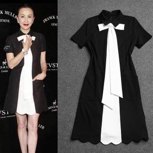 2015 Spring Summer Women Dress Vintage Black White Patchwork Peter Pan Collar Preppy Bow Tie Short Sleeve Wave A Line Dress 1204