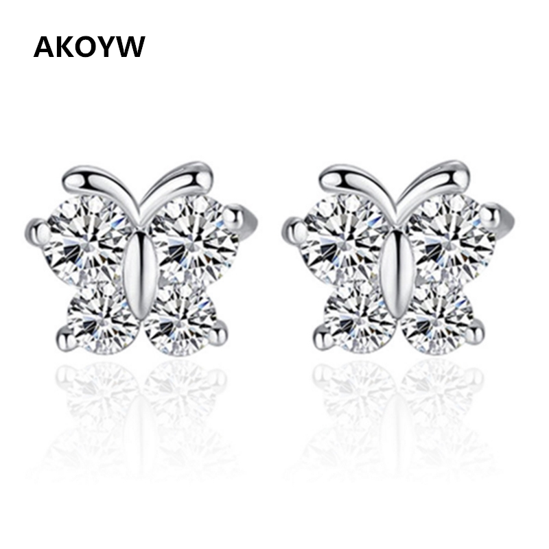 Silver plated crystal butterfly earrings jewelry cute female fashion star earrings butterfly animal(China (Mainland))