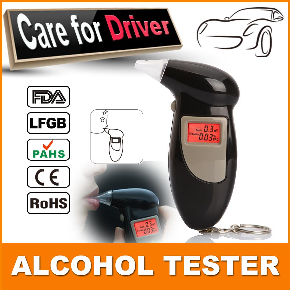 Patent digital alcohol tester with red backlight LCD Digital Alcohol Tester Breathalyzer Breath Analyze 5pcs/lot Free Shipping(China (Mainland))