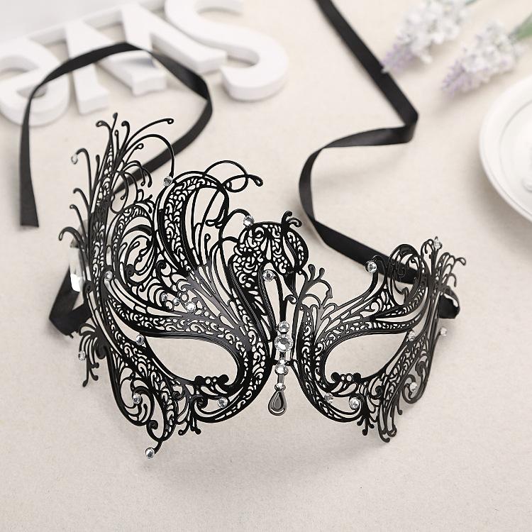 Luxury Phantom Beautiful Swan Black Hallow Laser Cut Metal Venetian Masquerade Mask Rhinestones(China (Mainland))