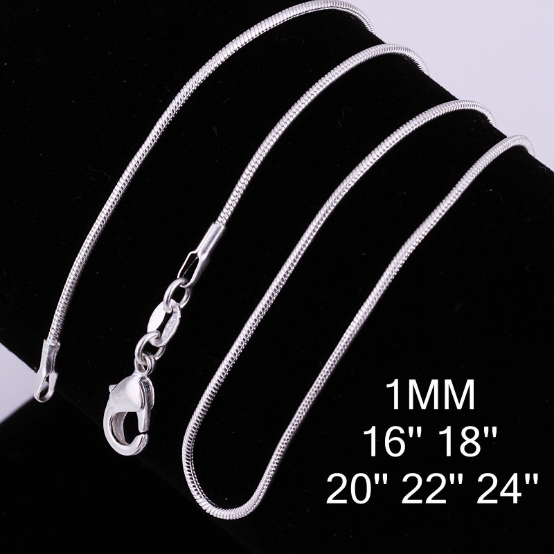 Statement Necklaces Snake Silver Plated Men Necklace Fashion Women Silver 1MM 16-24Inch Chains Jewelry Christmas Gift Never Fade(China (Mainland))