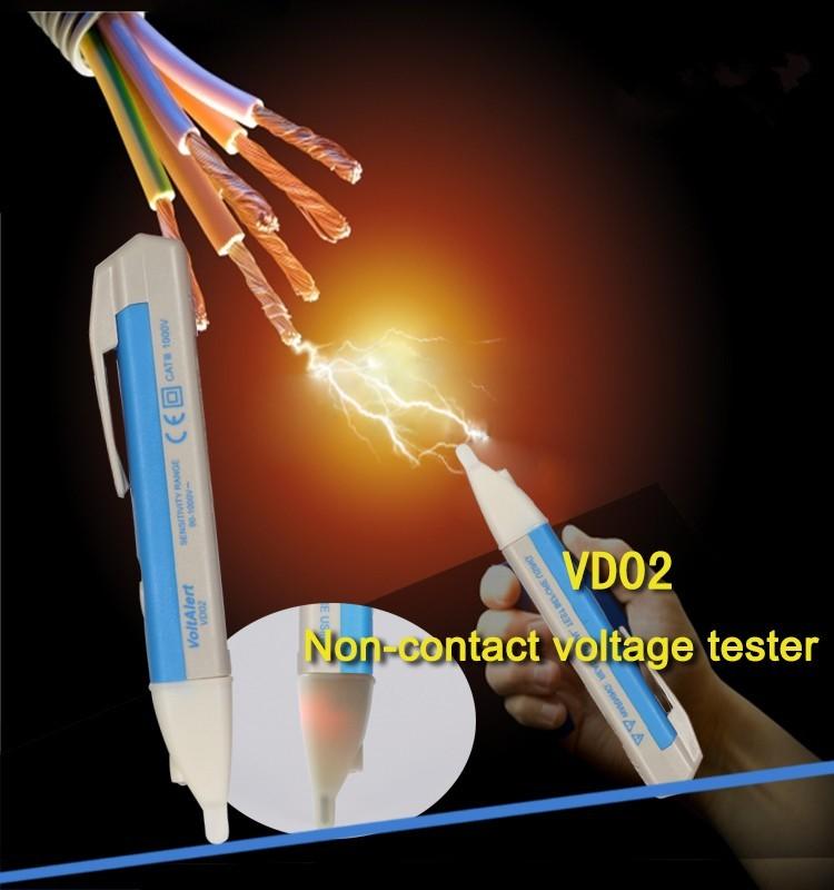 WHDZ 90-1000V Electric Socket Wall AC Power Outlet Voltage Detector Sensor Tester Pen LED Indicator Light Voltage Alert Pen