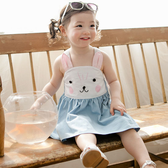 New! 2015 summer baby clothes childrens clothing shoulder cute rubbit bebe dress Bunny cute overalls kids baby dress <br><br>Aliexpress