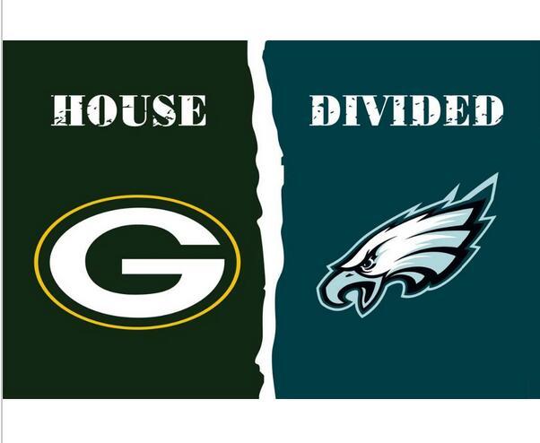3x5 ft Green Bay Packers VS Philadelphia Eagles house divided flag 150x90cm 2 metal grommets(China (Mainland))