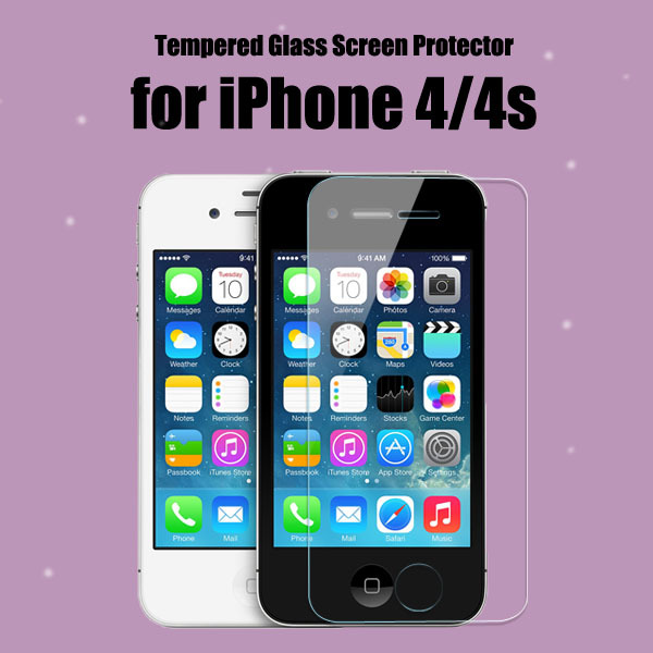 flip cover for iPhone 4 4s glass screen protector film(China (Mainland))