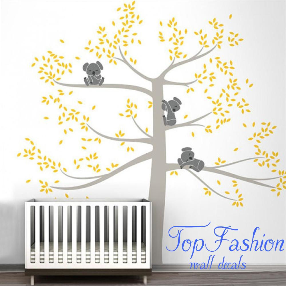 Spring Koala Tree Vinyl Wall Decal Removable Wall Sticker Tree Nursery Vinyls Baby Room Decor Wall Stickers Home Decoration(China (Mainland))