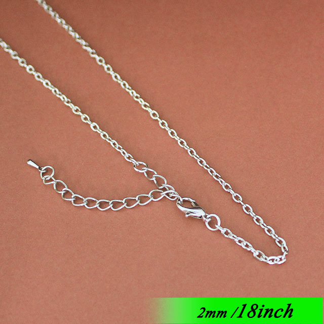 Fashion 2mm Copper Metal Cable Necklace Links With Lobster Clasps Extender End Drops For Jewellery Chains Pendants Rhodium Tone<br>