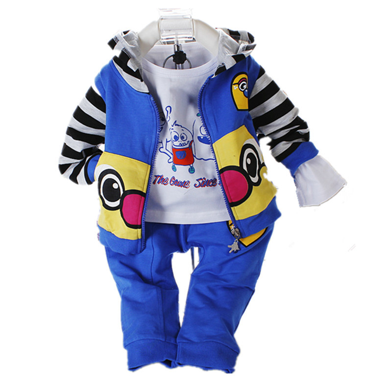 New 2015 3 Pcs/Set Cotton Newborn Baby Clothes Unisex Cute Cartoon Carters Infant Clothing Outfits(China (Mainland))