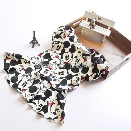 Children Girls Dress Mickey Minnie Mouse cotton Princess lace sleeves Dress(China (Mainland))