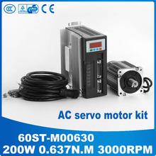 Servo motor 0.637N.M 60ST 60ST-M00630 AC servo motor 200 W 220 v 3000 rpm + ac servo drive y motor