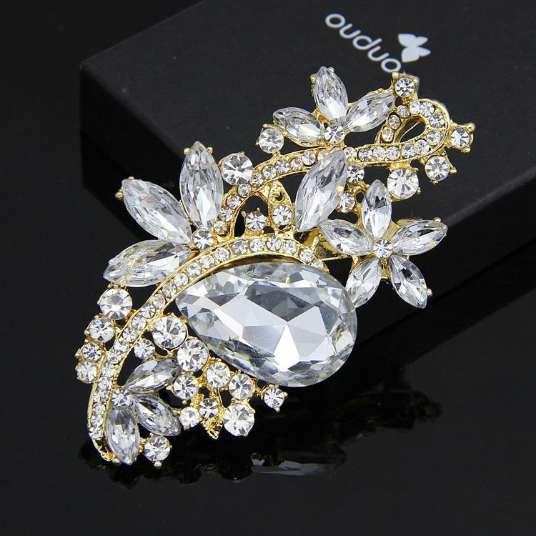 Hot selling fashion vintage wedding bridal brooch with large rhinestone crystals drop jewelry for women and girls wholesale(China (Mainland))