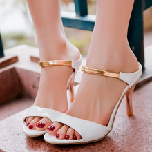 Big Size 34-43 Ankle Strap Shoes Sexy Sandals Woman's Fashion Mid Thin Heels Open Toe Summer Platform Shoes Women Sandals