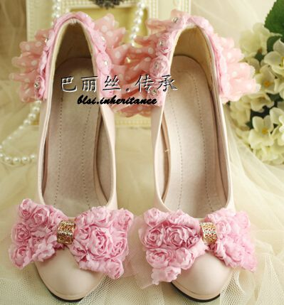 High heel ( 11cm) womens white pink bow rose flowers decoration female ladies bridal shoes pumps shoe for party proms XNA 142(China (Mainland))