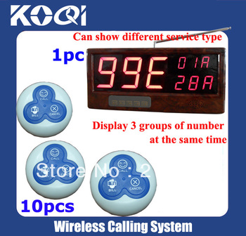 Restaurant Table Paging System(full set including 1pcs receiver+ 10pcs button)