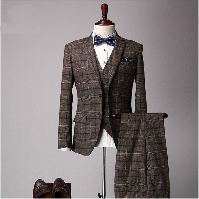 Male Slim Suits Three Piece Set Fashion Vintage Men Brown Plaid Married Suit Mans Winter Casual