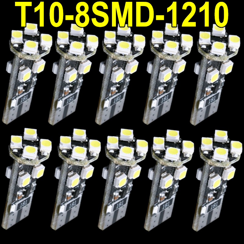 10pcs WHITE W5W LED T10 CAR ERROR FREE CANBUS 8 SMD LED PARKING SIDE LIGHT BULB FOR VOLKSWAGEN BMW AUDI VOLVO MERCEDES PORSCHE(China (Mainland))